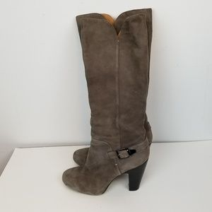 Sofft high heel suede leather brown boots size 10